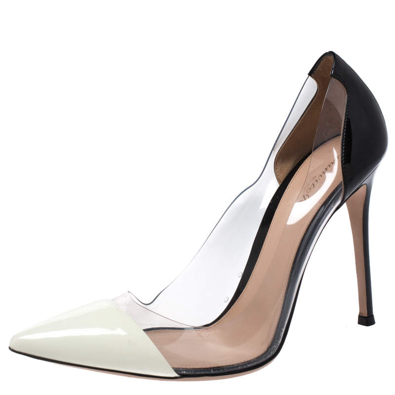 Gianvito Rossi Black/White Patent Leather and  PVC Plexi Pointed Toe Pump Size 40