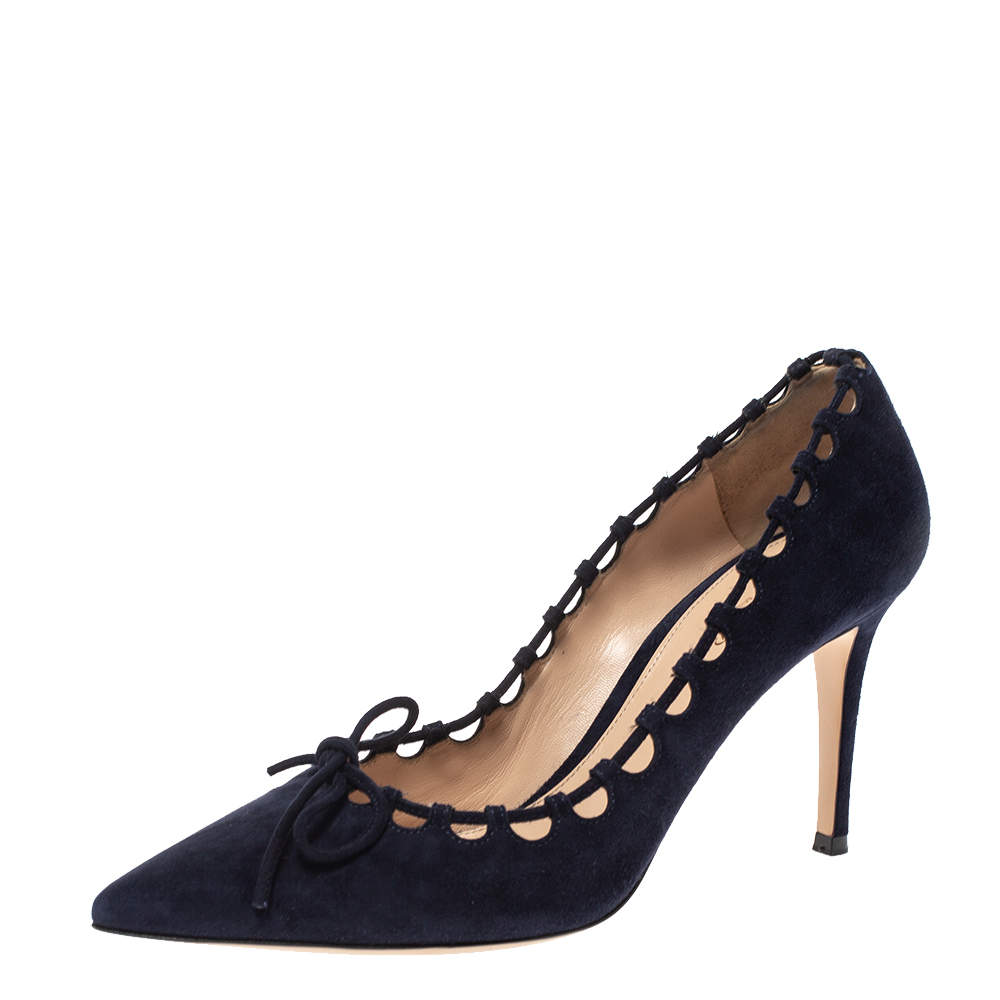 Gianvito Rossi Blue Suede Lace Bow Pumps Size 39