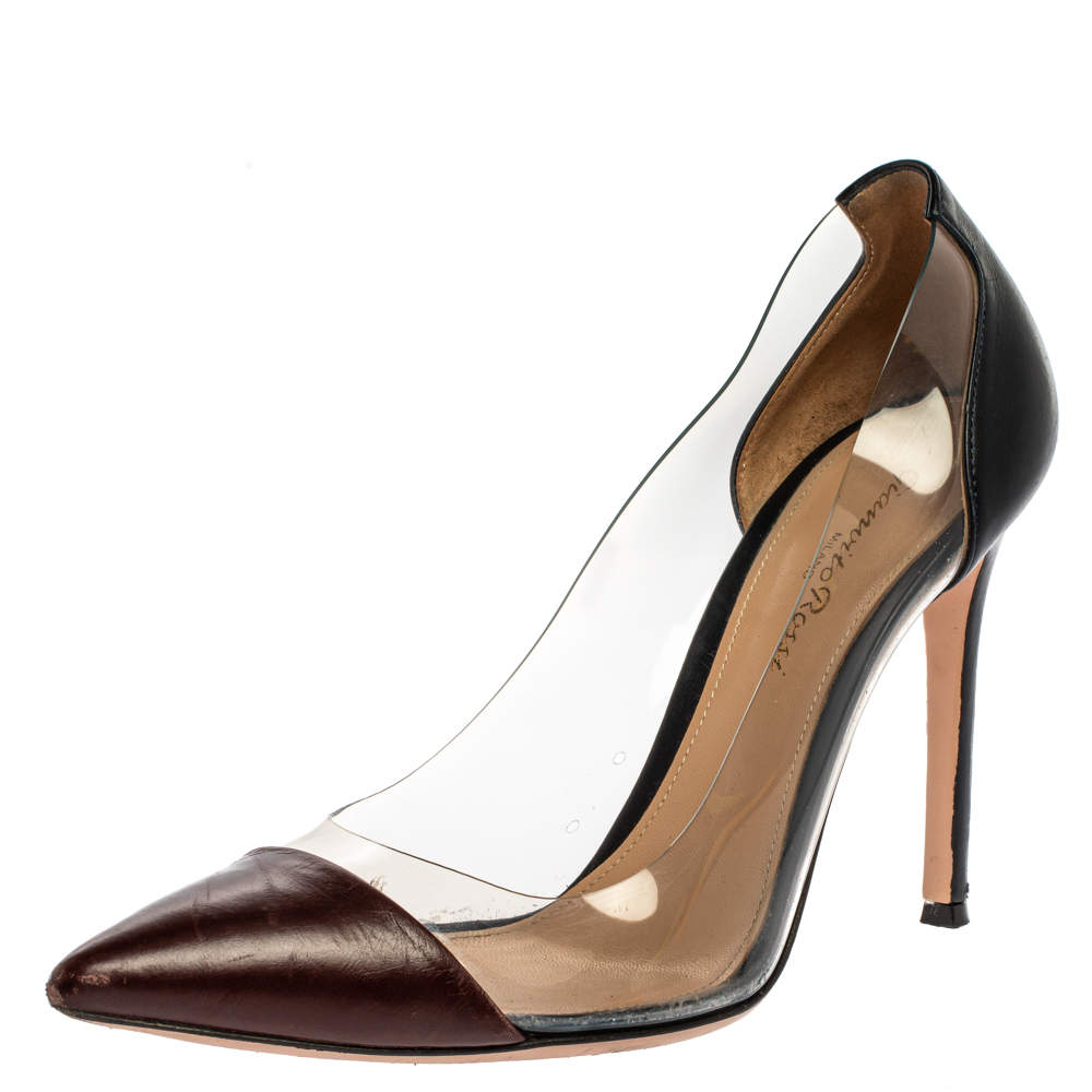 Gianvito Rossi Burgundy/Blue Leather And PVC Plexi Pointed Toe Pumps Size 38.5
