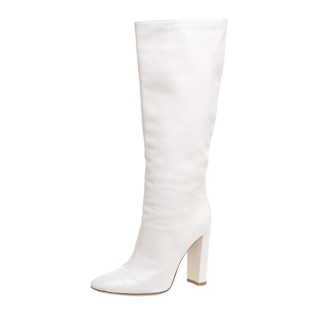 Gianvito Rossi White Leather Knee Block Heels Boots Size 37.5