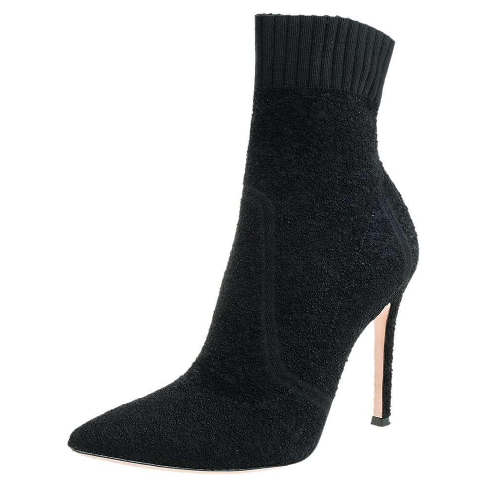 Gianvito Rossi Knit Fabric Bouclé Katie Ankle Boots Size 37.5