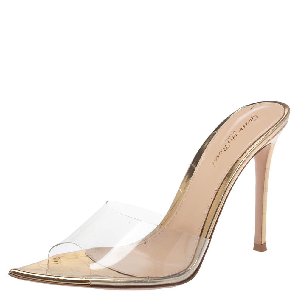 Gianvito Rossi Metallic Gold Croc Embossed Leather And PVC Elle Open Toe Sandals Size 39