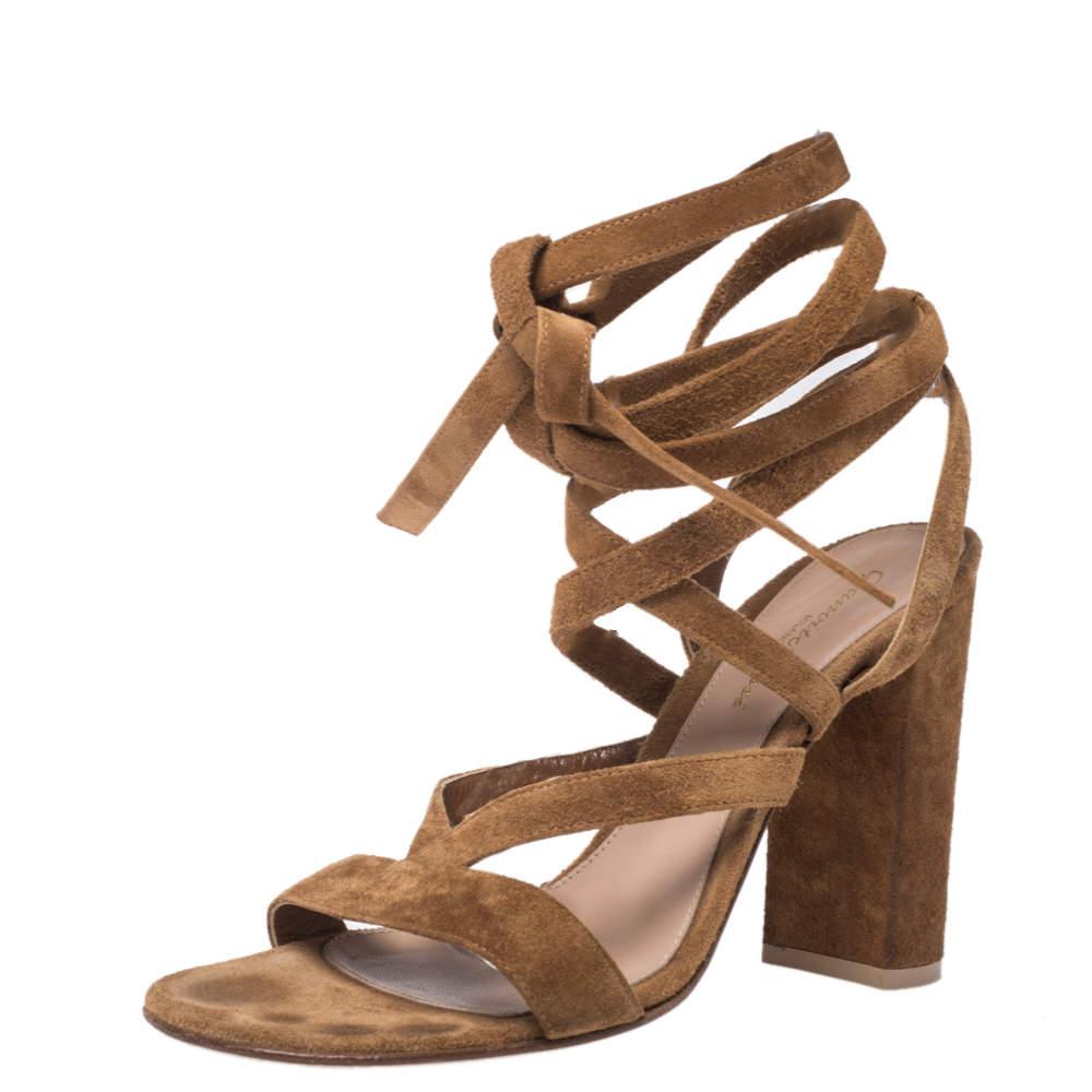 Gianvito Rossi Brown Suede Janis Low Block Heels Sandals Size 38