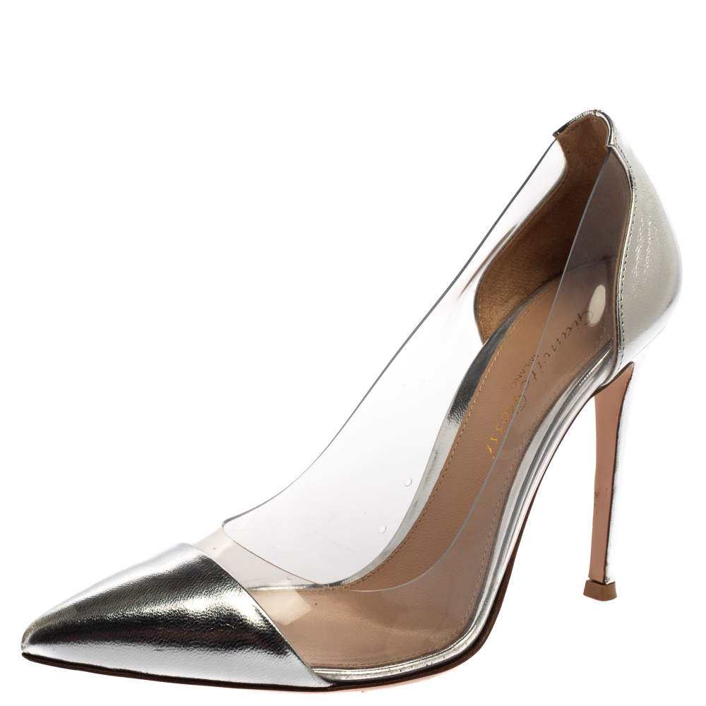 Gianvito Rossi Silver Leather And PVC Plexi Pointed Toe Pumps Size 35