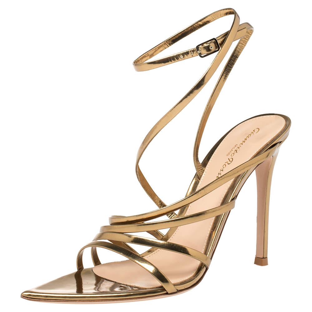 Gianvito Rossi Gold Patent Leather Eclypse Strappy Sandals Size 38