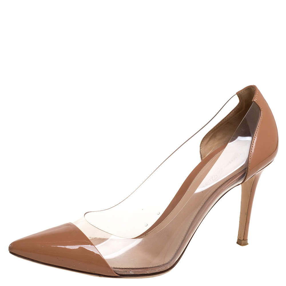 Gianvito Rossi Nude Beige Leather and PVC Plexi Pointed Toe Pumps Size 40