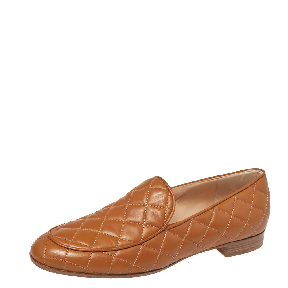 Gianvito Rossi Tan Quilted Leather Marcel Driver Loafers Size 39
