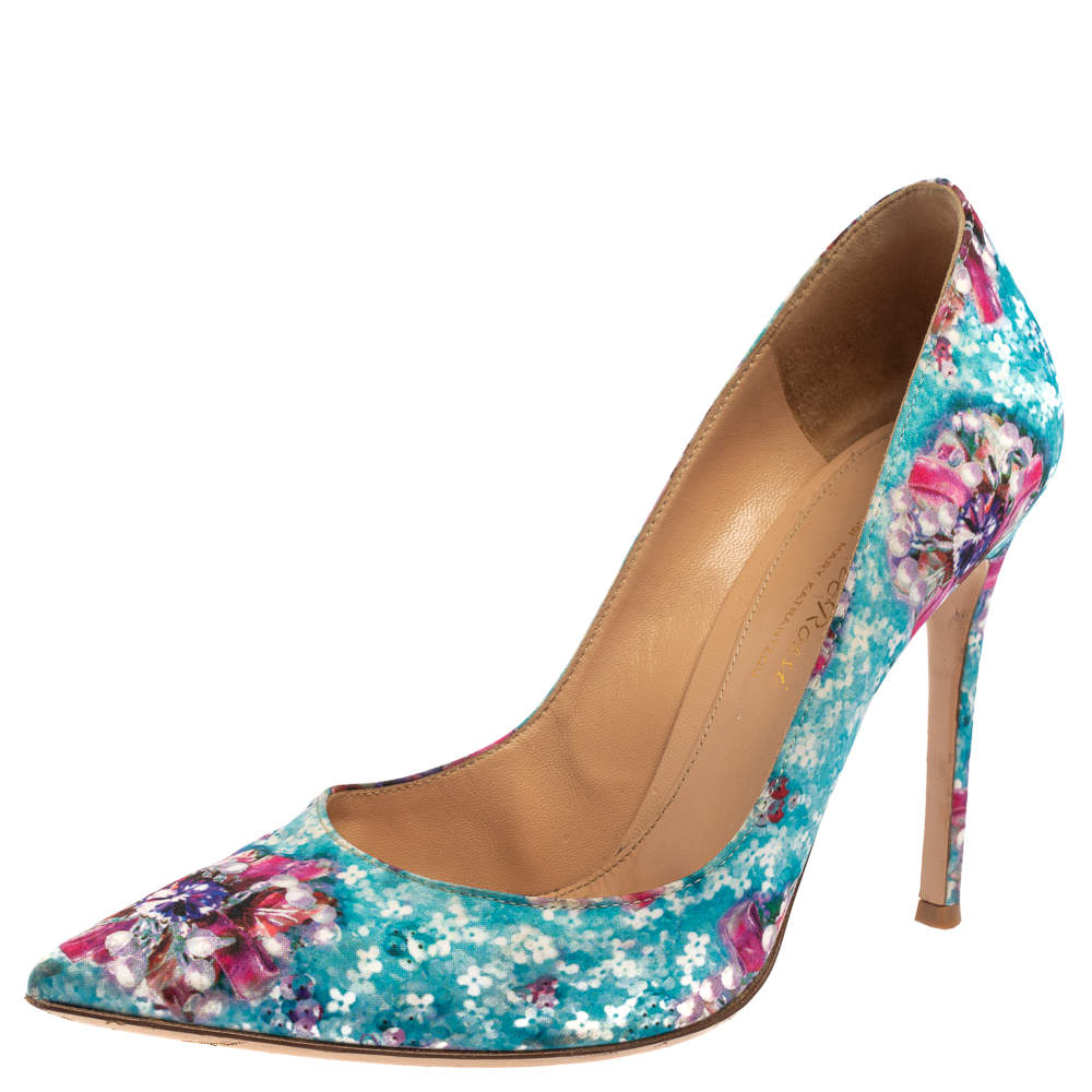 Gianvito Rossi For Mary Katrantzou Multicolor Floral Printed Fabric Lisa Ponker Pumps Size 38.5