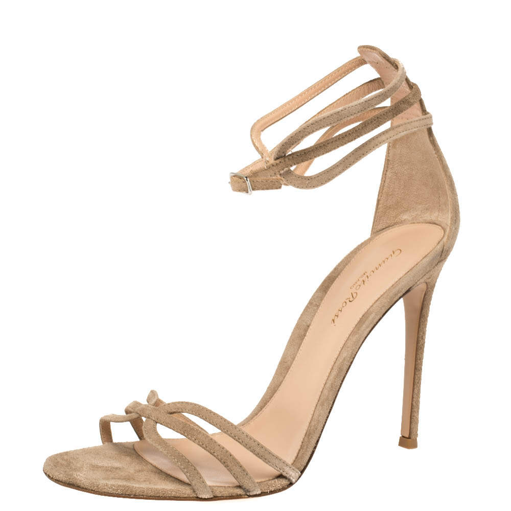 Gianvito Rossi Beige Suede Ankle Strap Sandals Size 41
