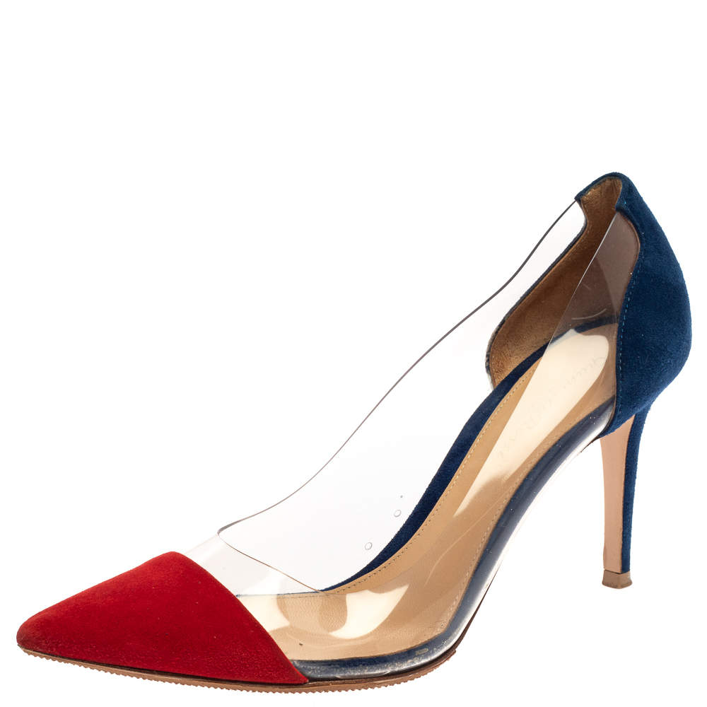 Gianvito Rossi Red/Blue Suede Leather And PVC Plexi Pointed Toe Pumps Size 38.5