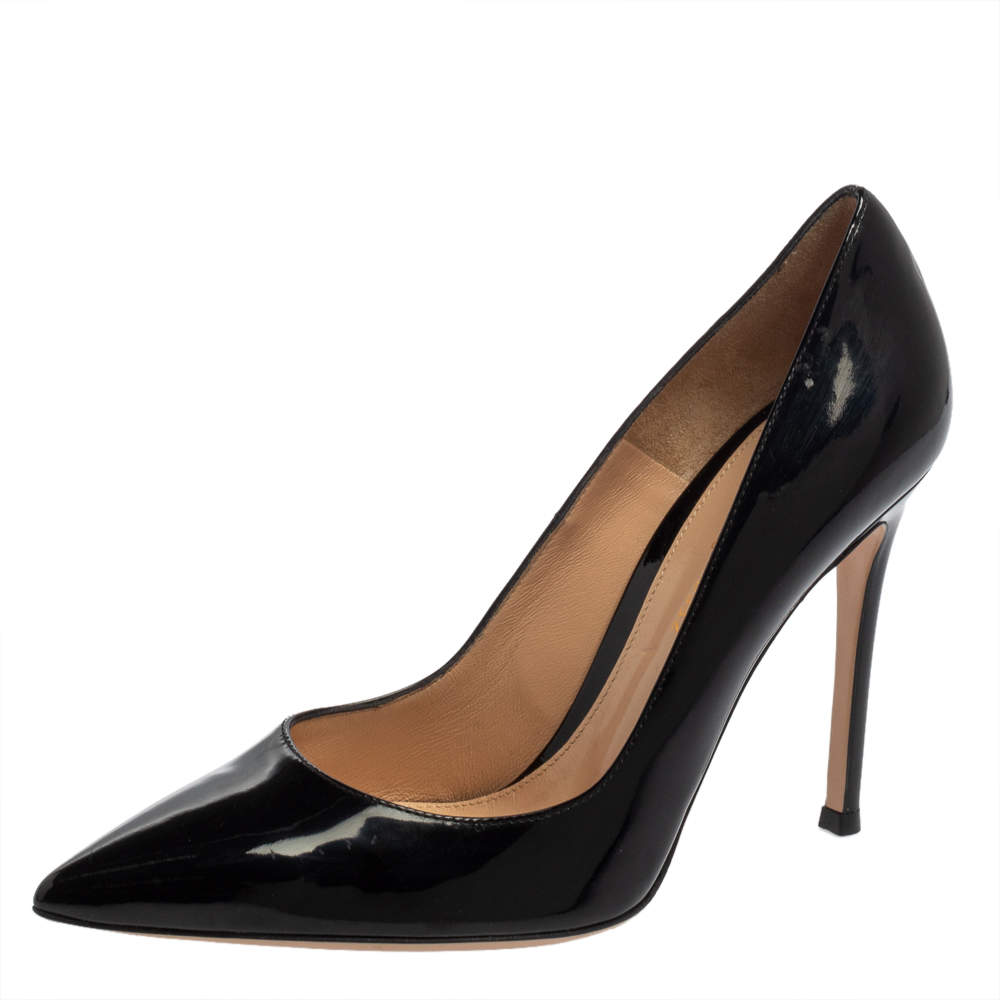 Gianvito Rossi Black Patent Leather Pointed Toe Pumps Size 37.5