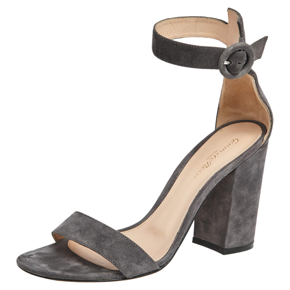 Gianvito Rossi Grey Suede Ankle Strap Sandals Size 39.5