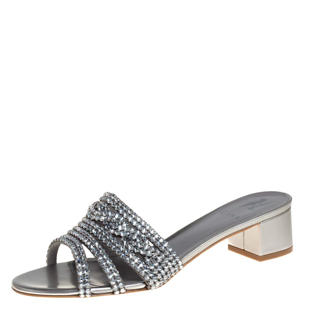 Gina Silver Leather and Crystal Embellished Rodeo Block Heel Slides Size 40.5
