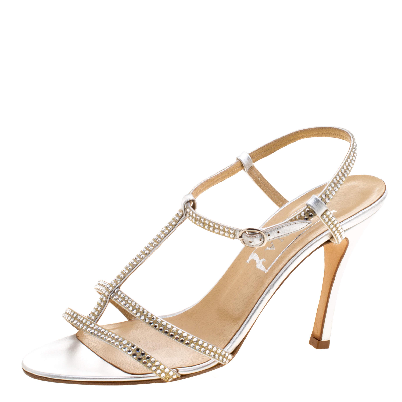 Gina Silver Crystal Embellished Slingback Sandals Size 40.5