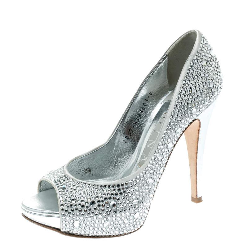 Gina Light Grey Satin Crystal Embellished Peep Toe Platform Pumps Size 37