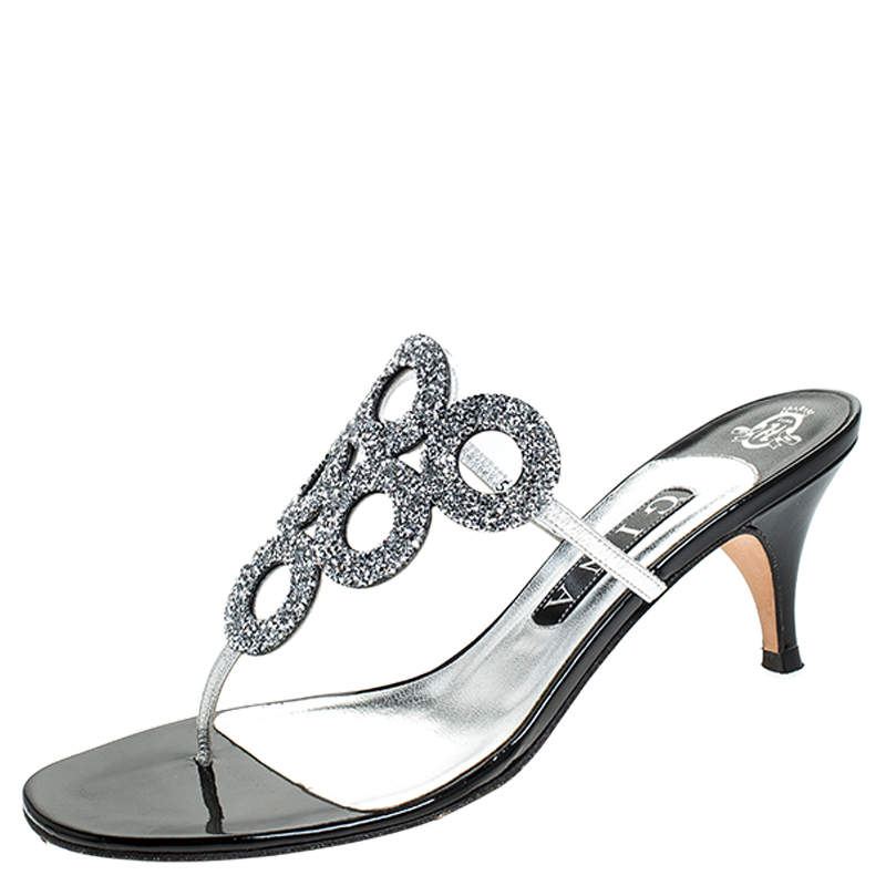 Gina Metallic Silver Crystal Embellished Leather Thong Sandals Size 39