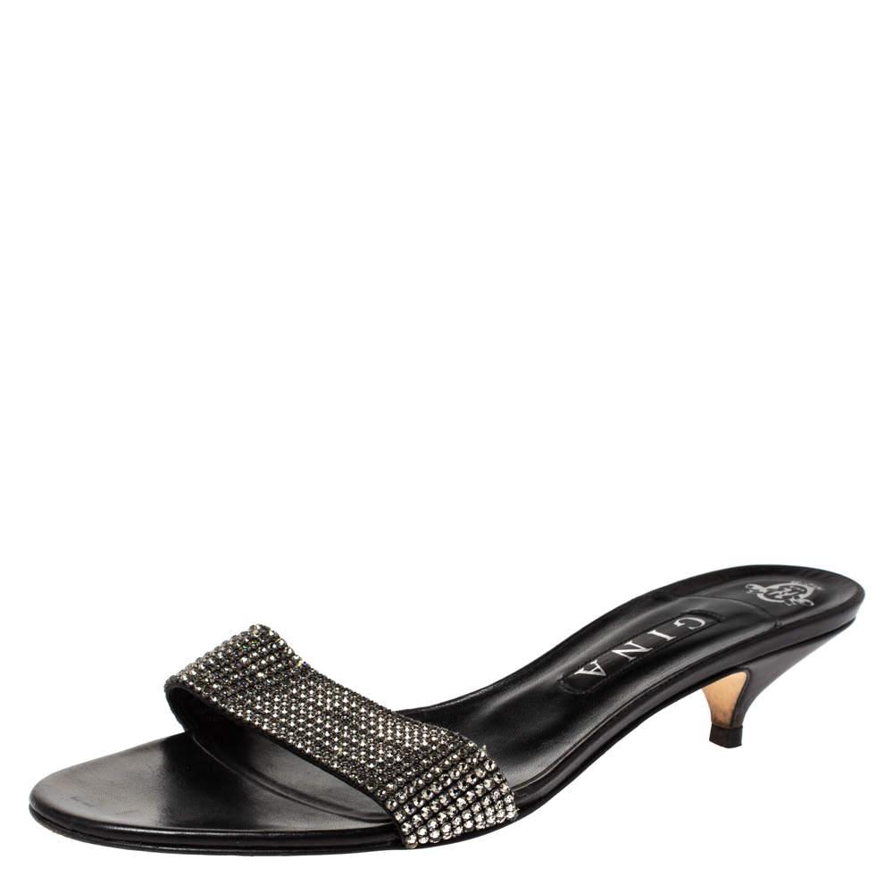 Gina Black Crystal Embellished Leather Kitten Heel Sandals Size 41