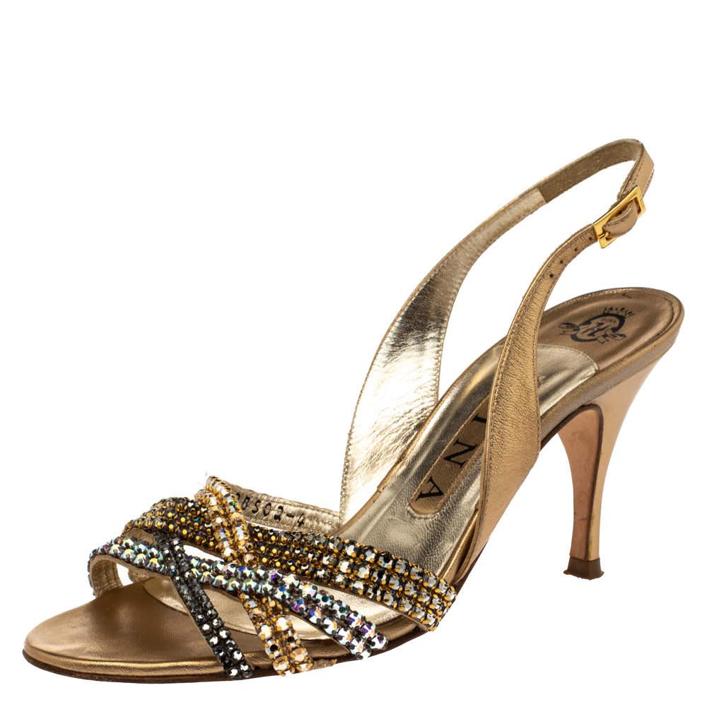 Gina Metallic Gold Leather Crystal Embellished Slingback Sandals Size 37