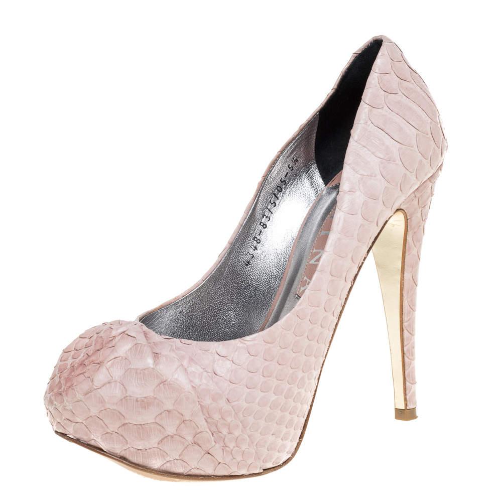 Gina Pink Python Leather Elle Platform Pumps Size 38.5