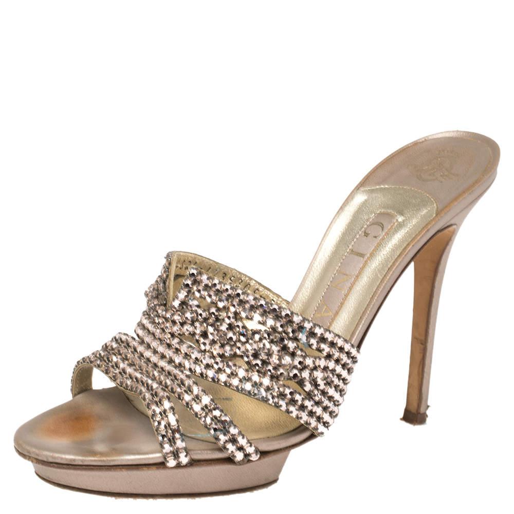 Gina Rose Gold Crystal Embellished Leather Slide Sandals Size 38.5