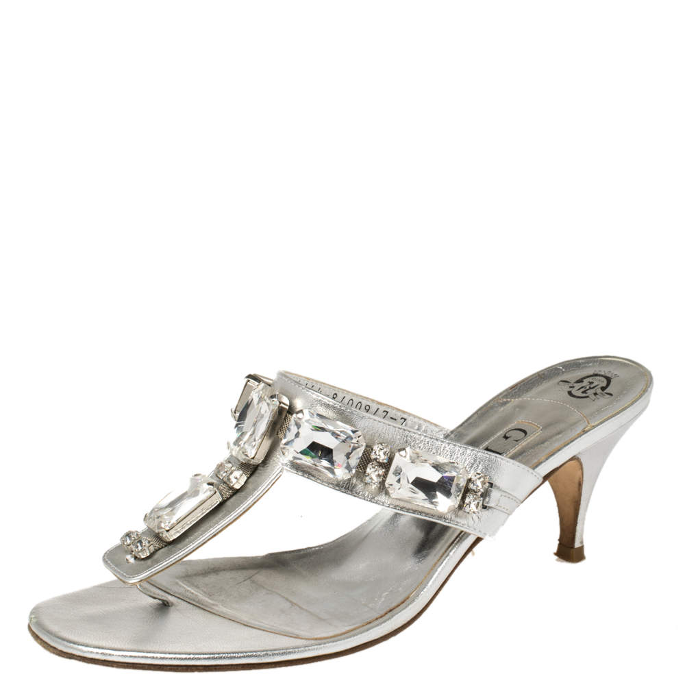 Gina Metallic Silver Leather Crystal Embellished Thong Sandals Size 40