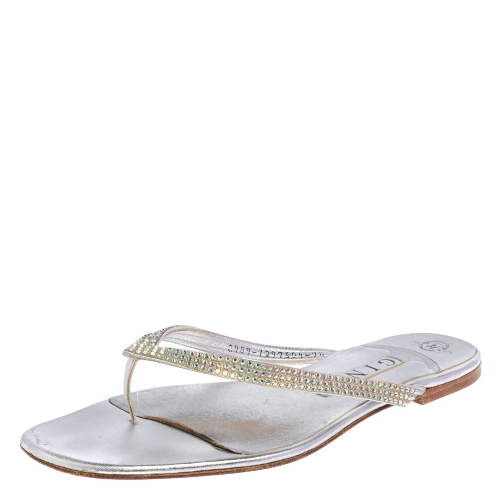 Gina Silver Leather Crystal Embellished Thong Flats Size 40.5