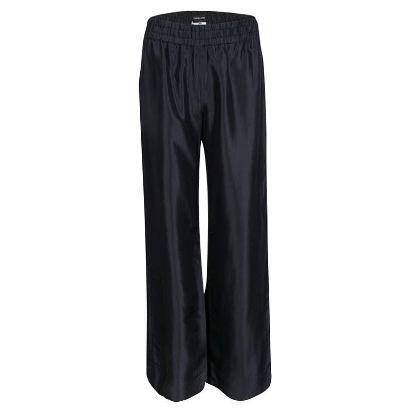 Giorgio Armani Black Silk Elasticized Waist Loose Pants S