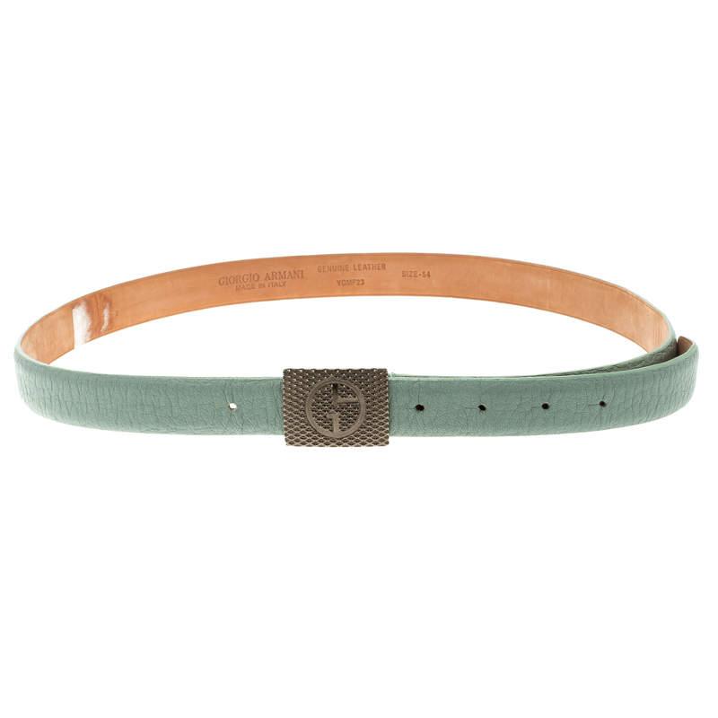 Giorgio Armani Pistachio Green Leather Logo Plaque Belt Size 50