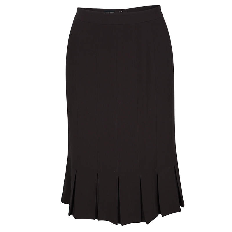 Giorgio Armani Brown Silk Pleated Hem Skirt S