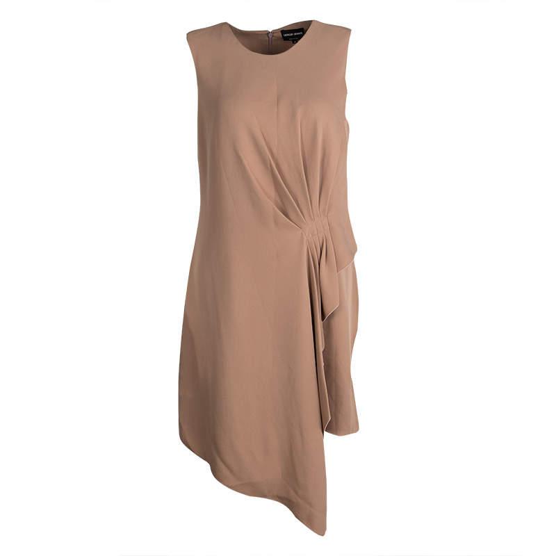 Giorgio Armani Beige Silk Draped Pleat Detail Sleeveless Dress M