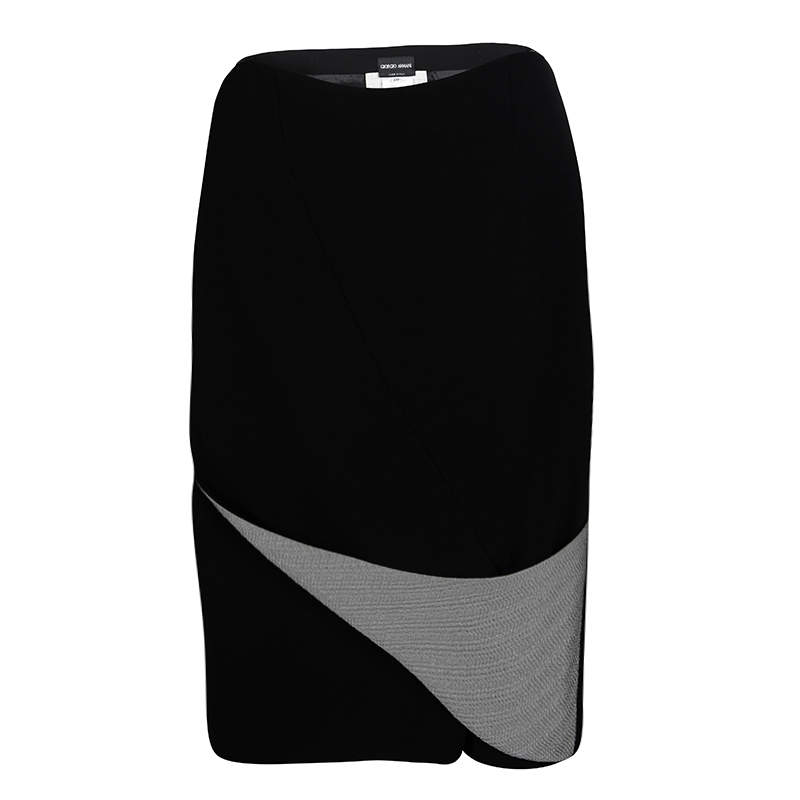 Giorgio Armani Black Draped Metallic Panel Detail Pencil Skirt S