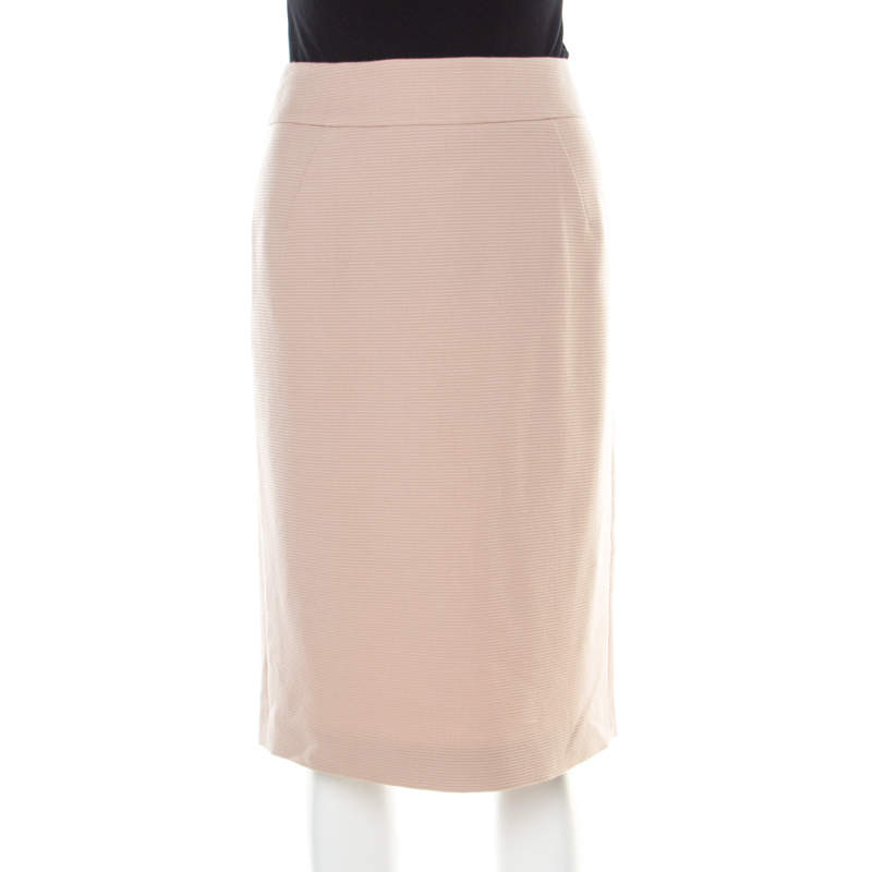 Giorgio Armani Blush Pink Textured Striped Wool and Cashmere Skirt M