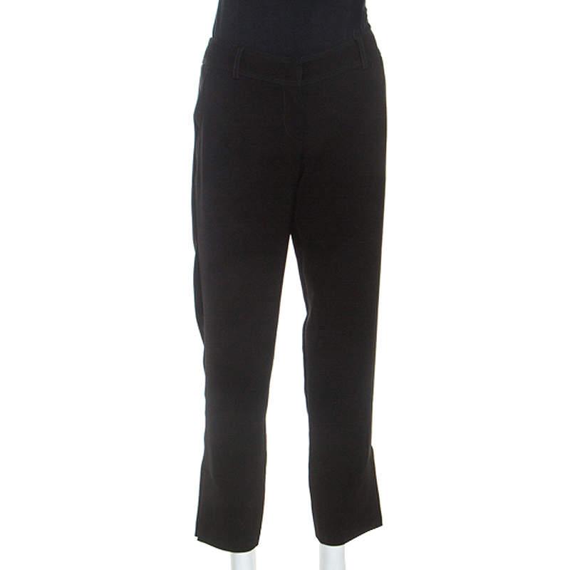 Giorgio Armani Black Knit Top Stitch Detail Pants S
