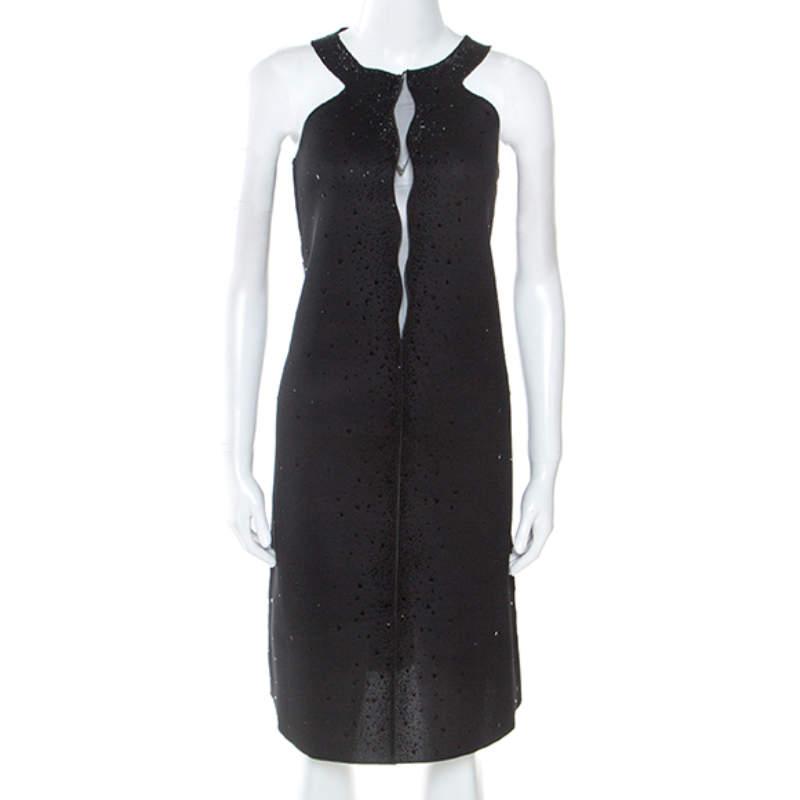 Giorgio Armani Black Dress Perforated Scuba Embellished Detail Dress M