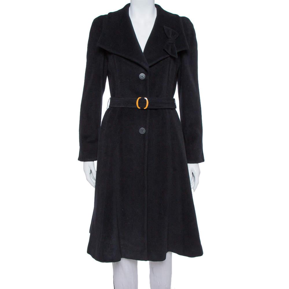 Giorgio Armani Black Rabbit Hair and Wool Blend Bow Detail Coat S