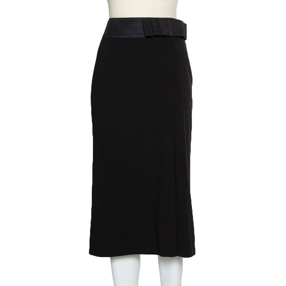 Giorgio Armani Black Wool Bow Detail Midi Skirt M