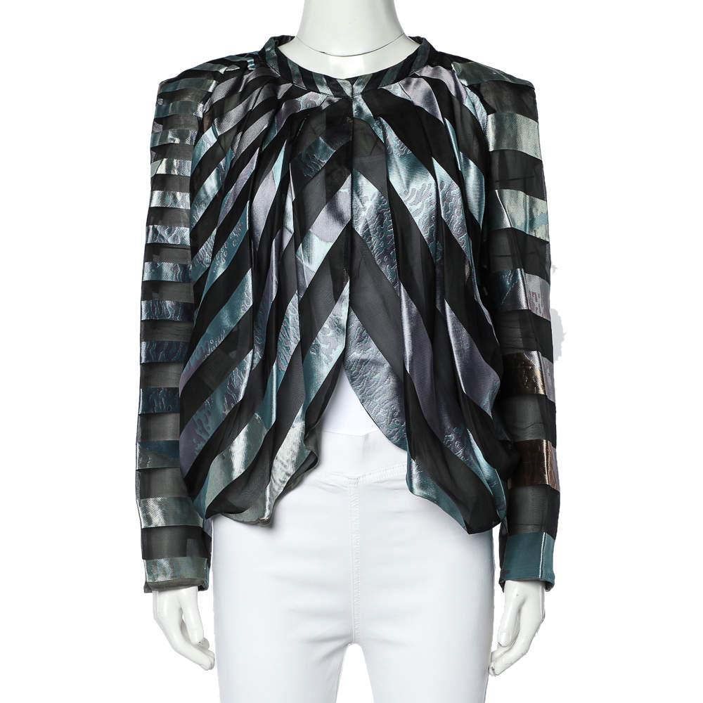 Giorgio Armani Multicolor Striped Jacquard Button Front Pleated Jacket L