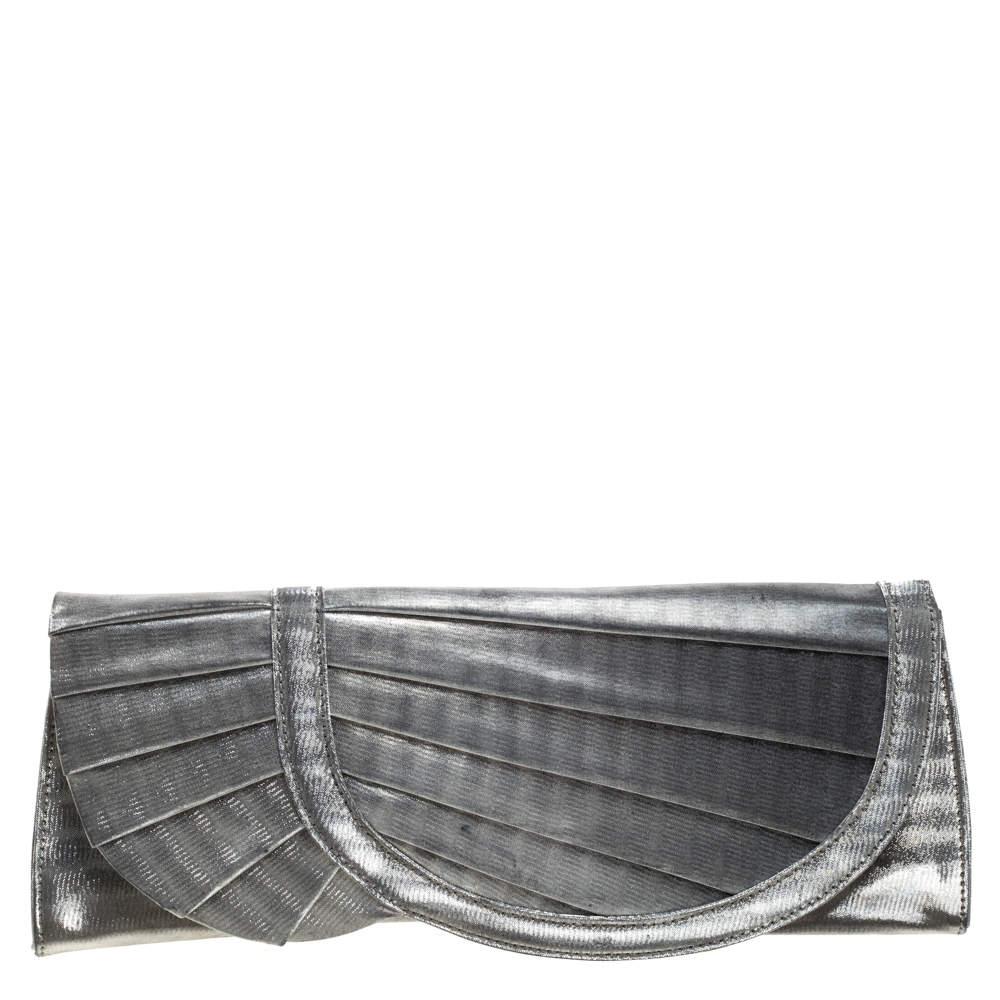Giorgio Armani Silver Shimmer Fabric Pleated Flap Clutch