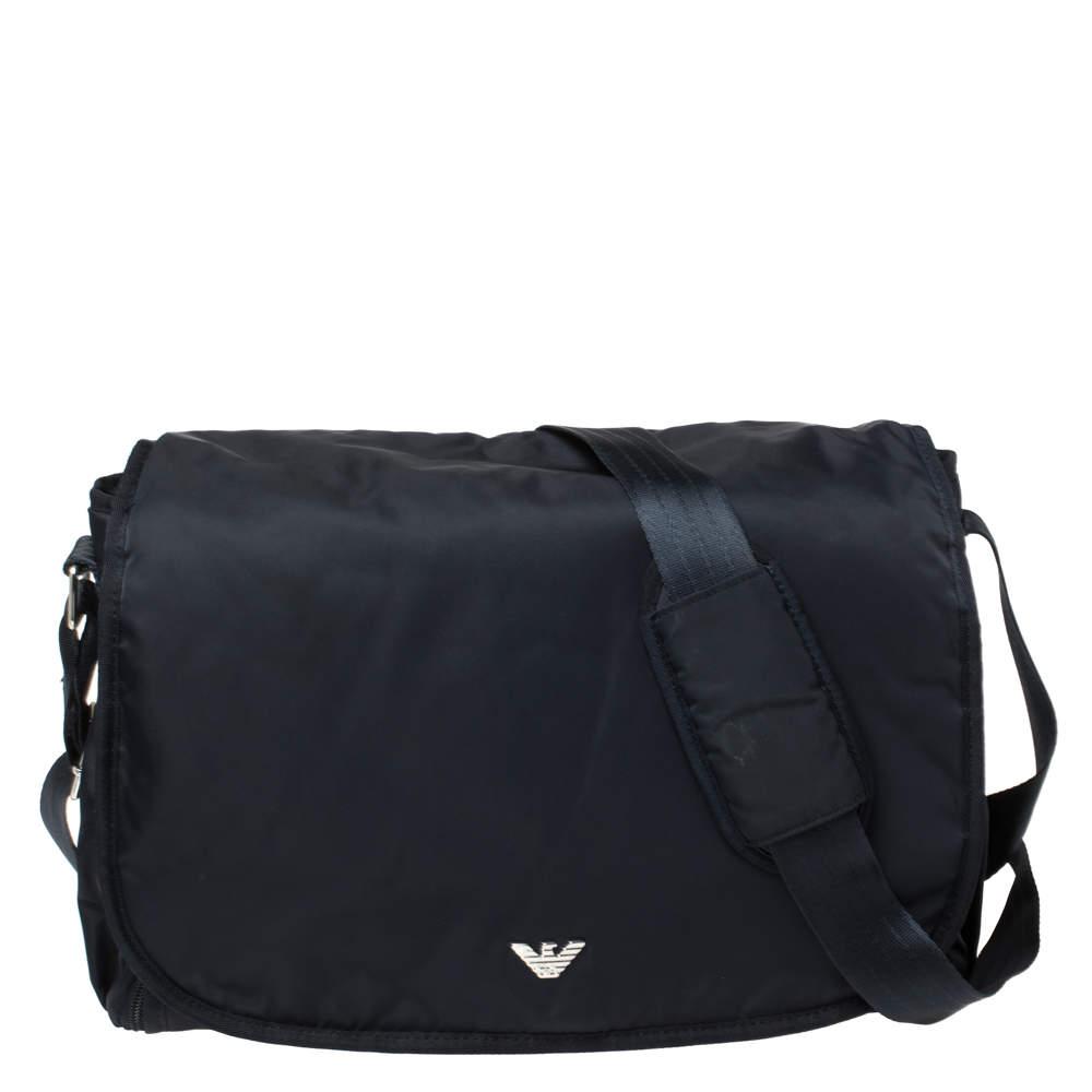 Emporio Armani Navy Blue Nylon Flap Diaper Bag