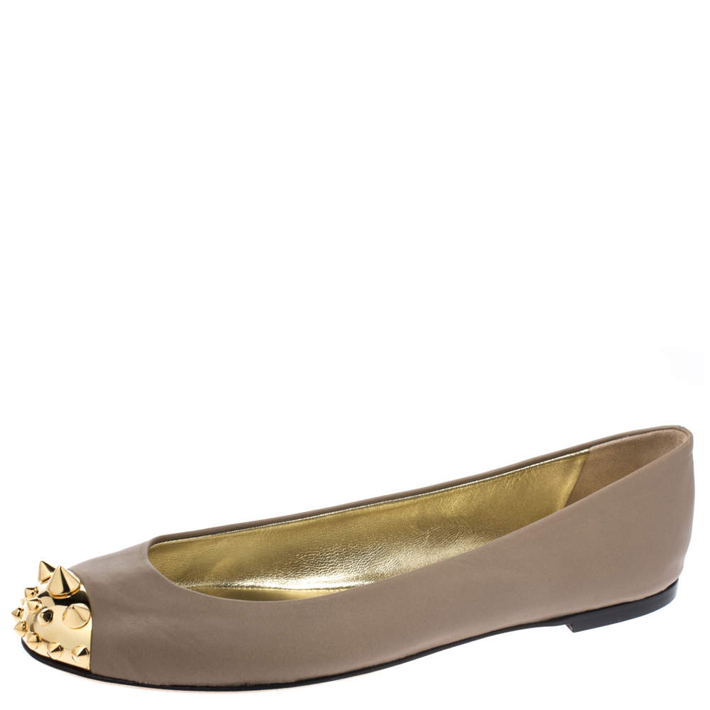 Giuseppe Zanotti Beige Leather Malika Spiked Cap Toe Ballet Flats Size 37