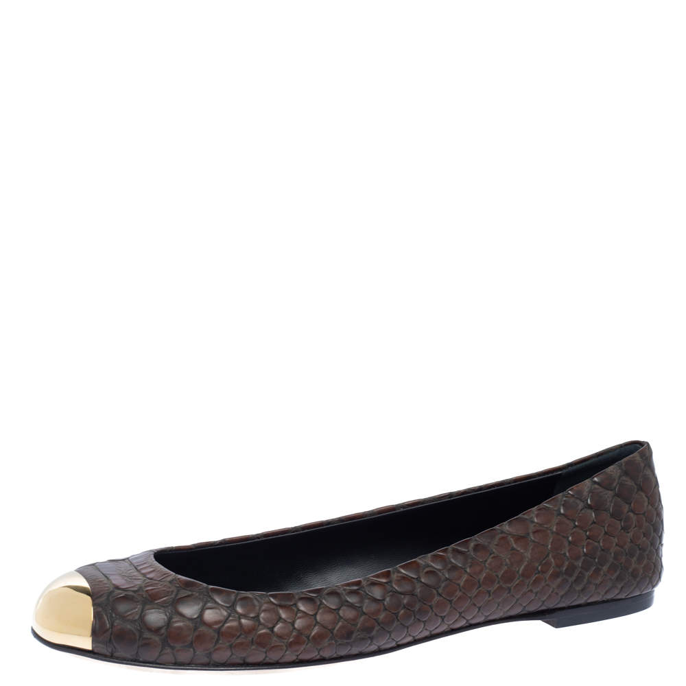 Giuseppe Zanotti Brown Python Embossed Leather Malika Cap Toe Ballet Flats Size 41