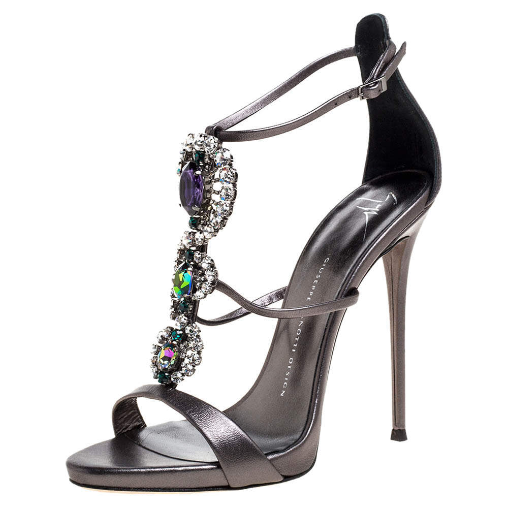 Giuseppe Zanotti Metallic Grey Crystal Embellished Strappy Sandals Size 40