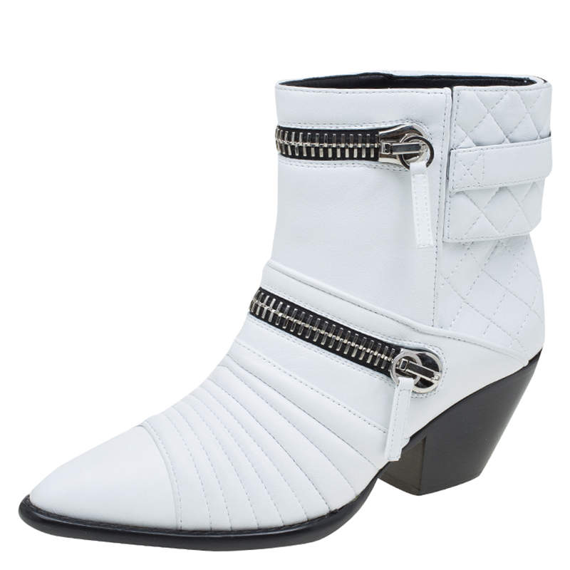 Giuseppe Zanotti White Quilted Leather Ankle Boots Size 39