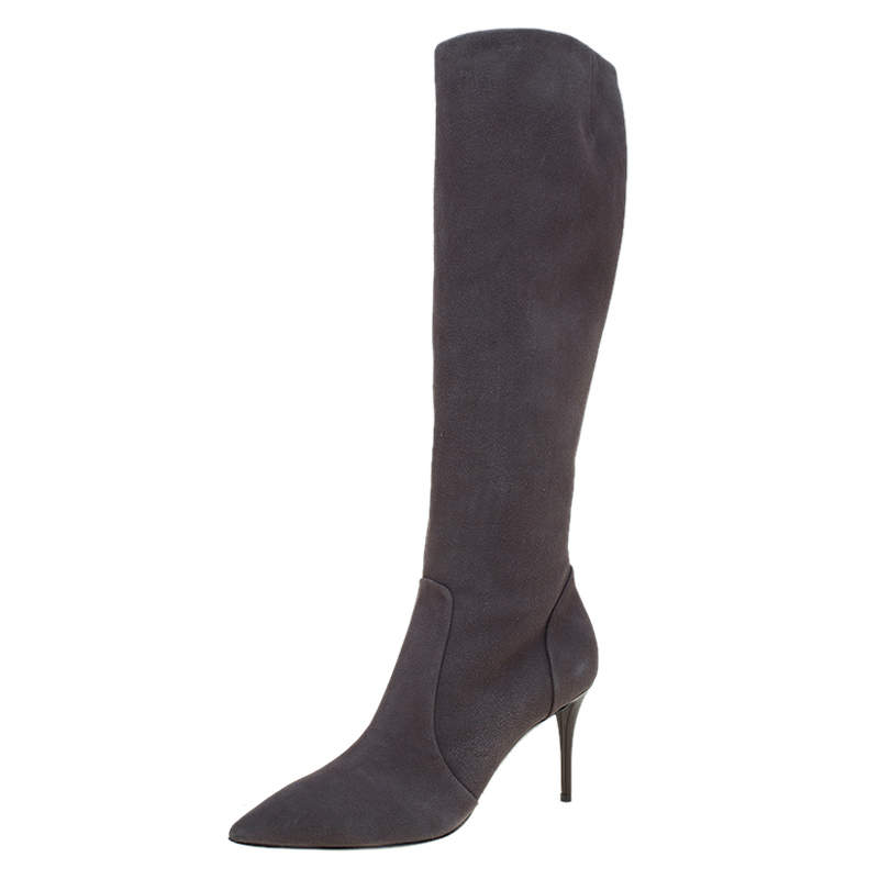 Giuseppe Zanotti Grey Suede Pointed Toe Knee Boots Size 37