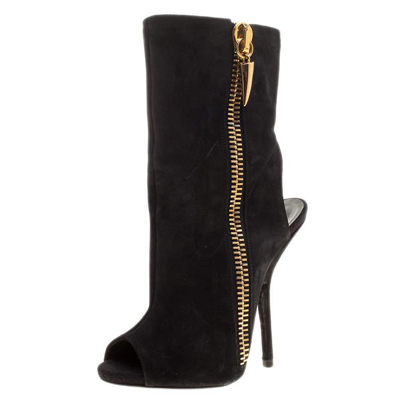 Giuseppe Zanotti Black Suede Alien Peep Toe Cut Out Ankle Boots Size 36