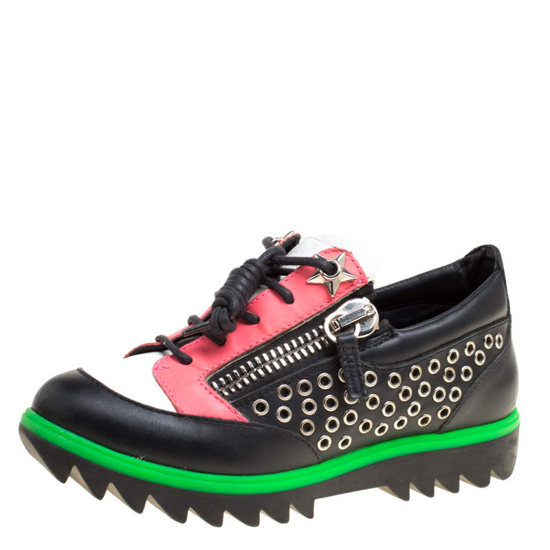 Giuseppe Zanotti Multicolor Leather Stud Detail Lace Up Sneakers Size 36