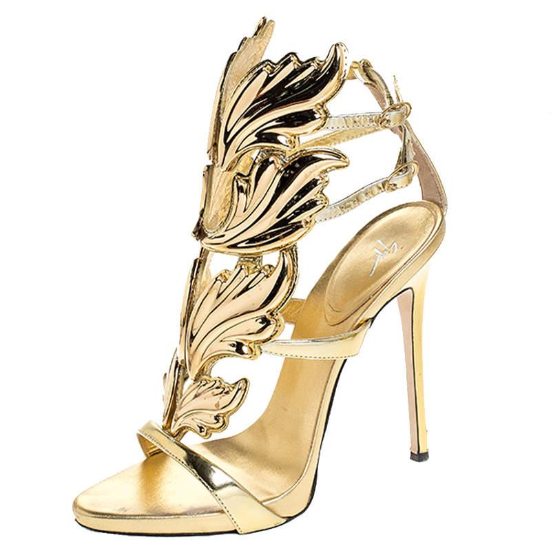 Giuseppe Zanotti Gold Leather Baroque