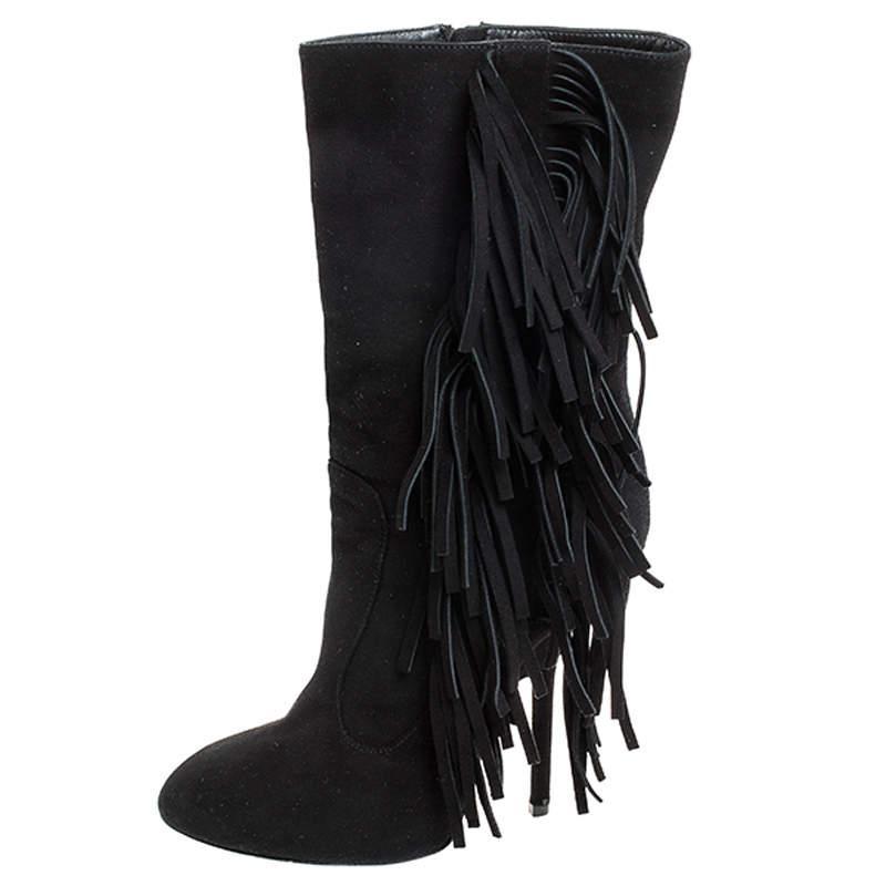 Giuseppe Zanotti Black Suede Fringe Detail Mid Calf Boots Size 38.5