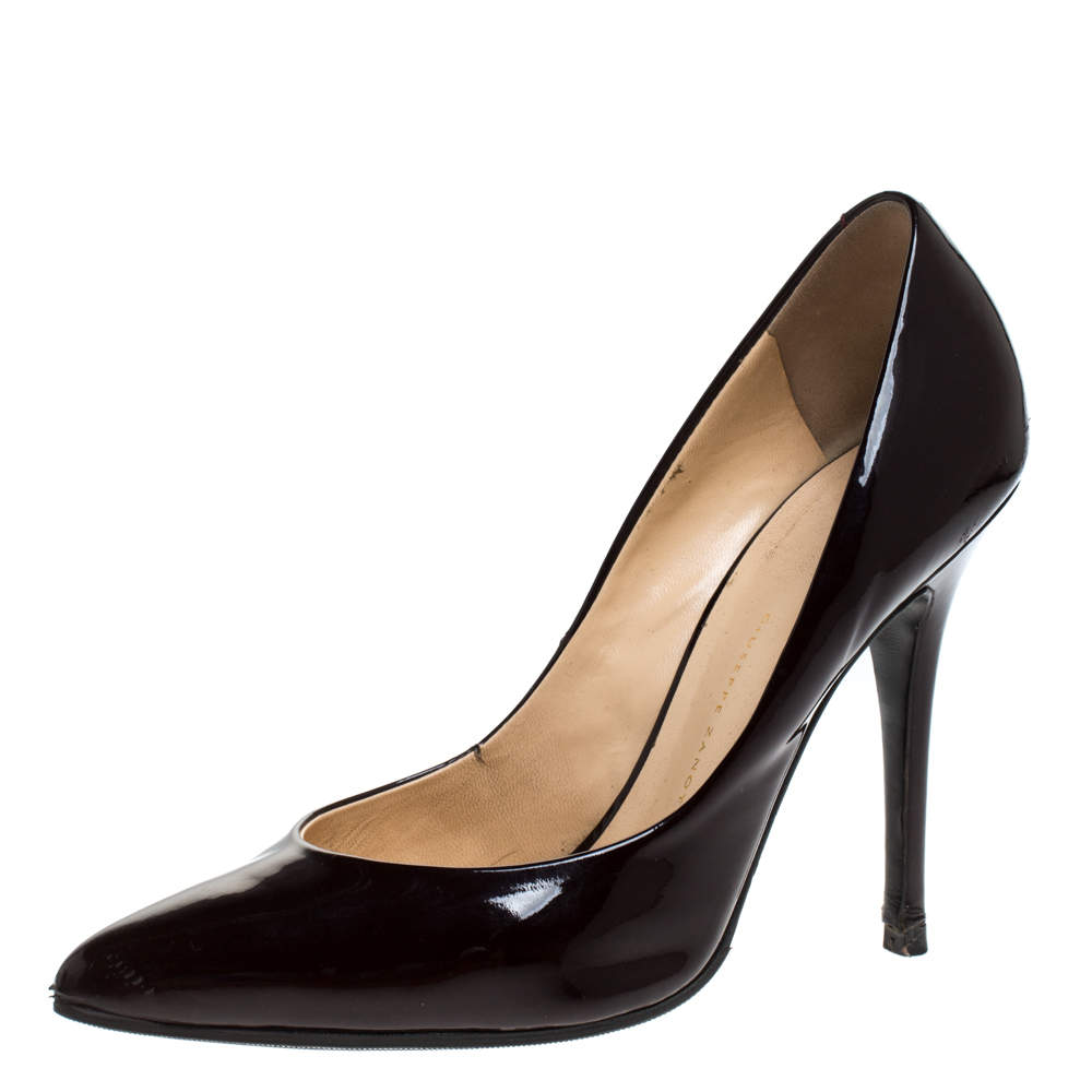 Giuseppe Zanotti Burgundy Patent Leather Pointed Toe Pumps Size 37.5