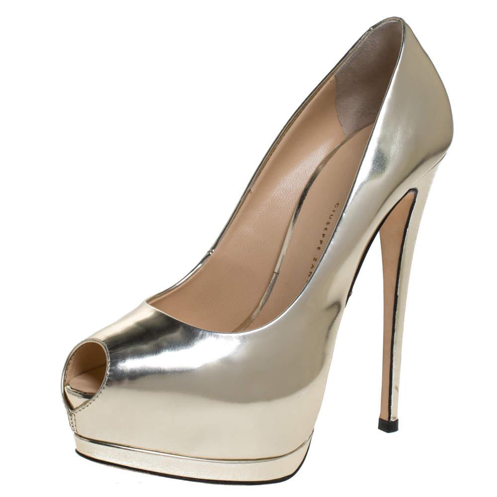 Giuseppe Zanotti Metallic Gold Leather Peep Toe Platform Pumps Size 37.5